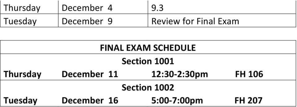 FINAL EXAM SCHEDULE Section 1001 Thursday