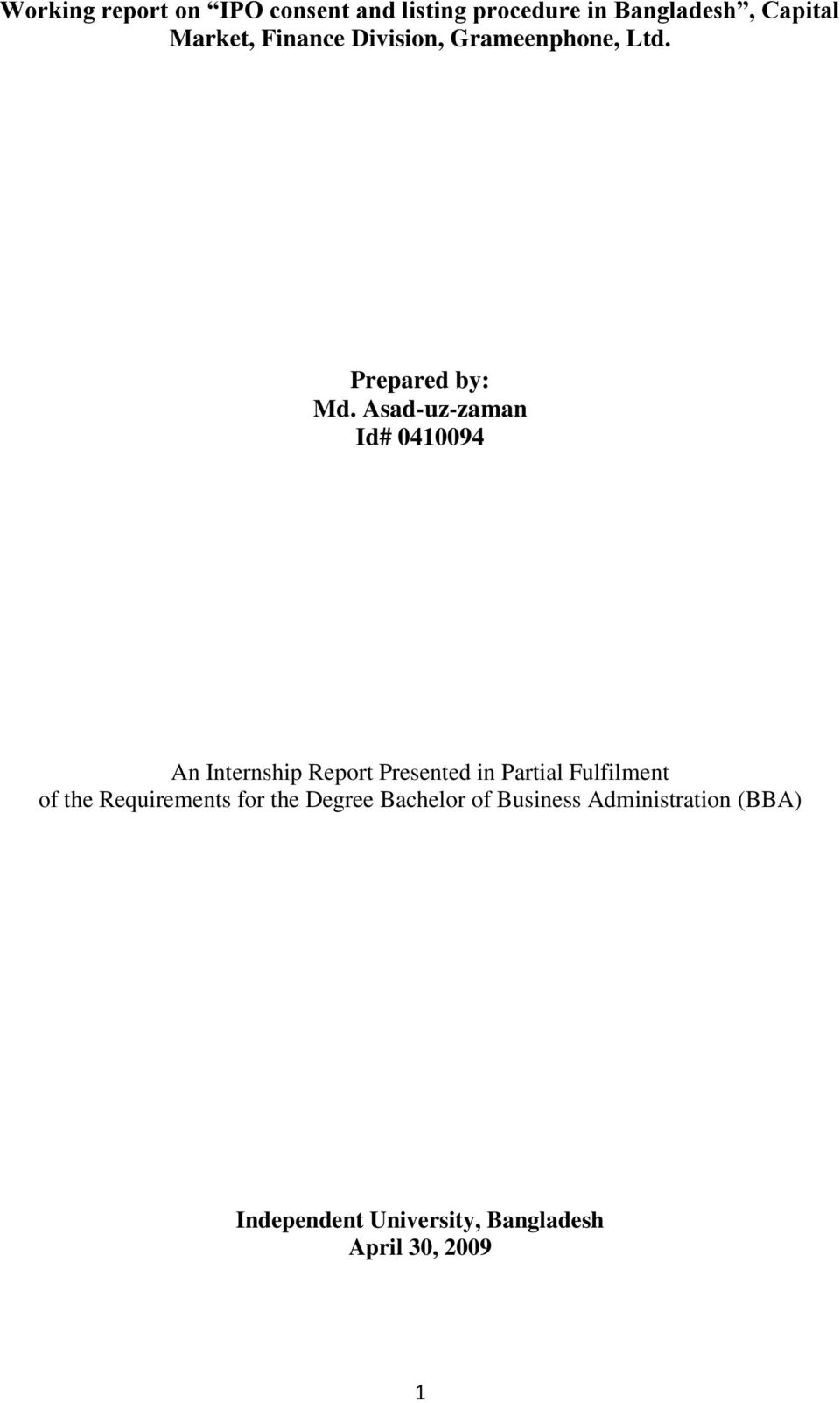 Working report on IPO consent and listing procedure in
