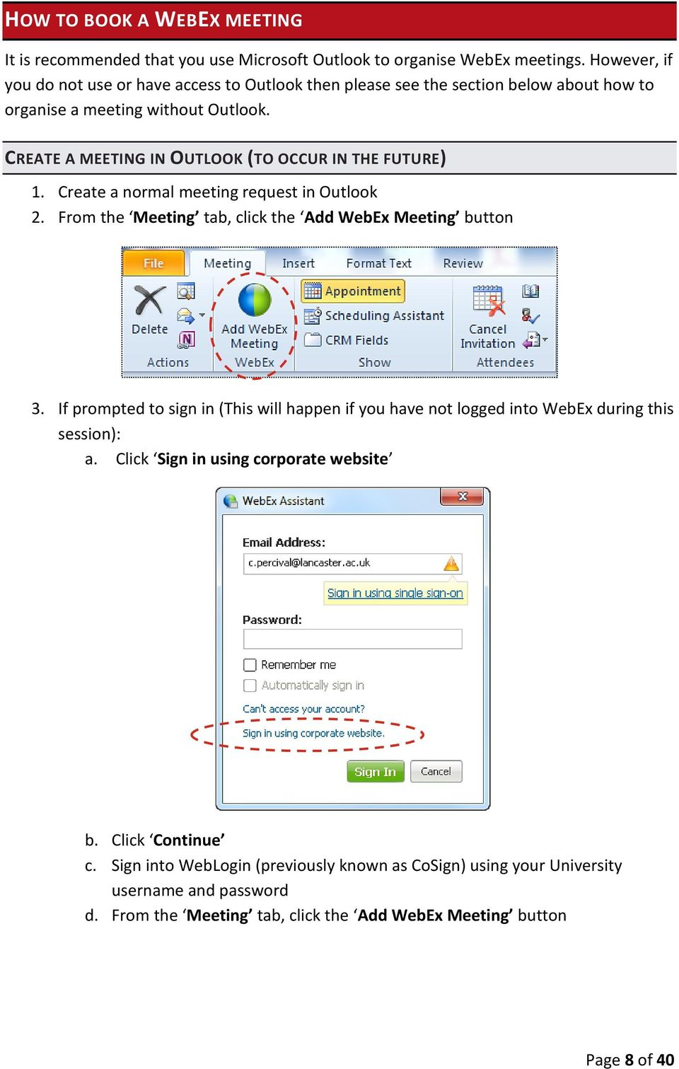 CISCO WebEx Guide for Host/Meeting Organiser  Unified