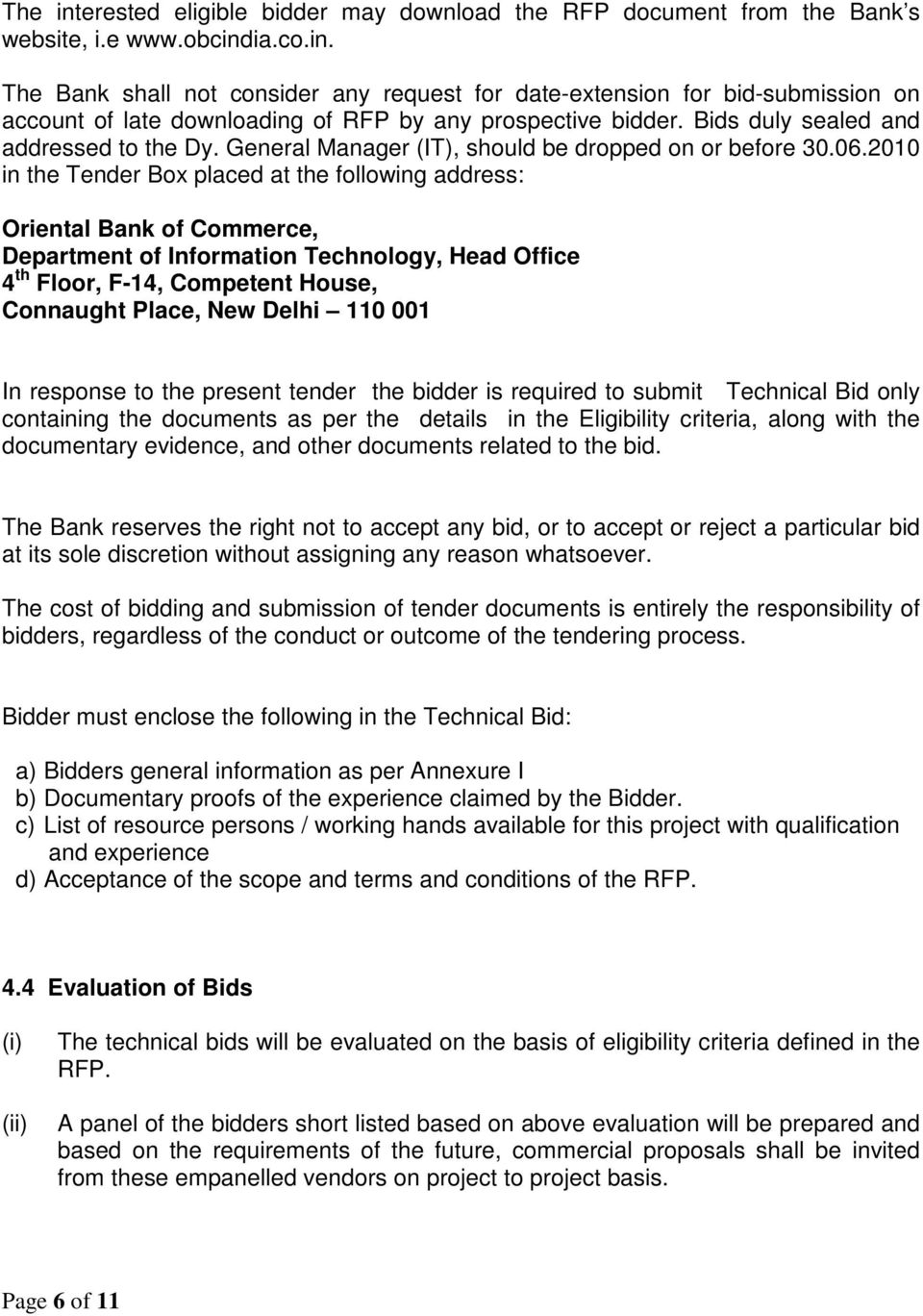 Request For Proposal (RFP) for Empanelment of IT Consultants