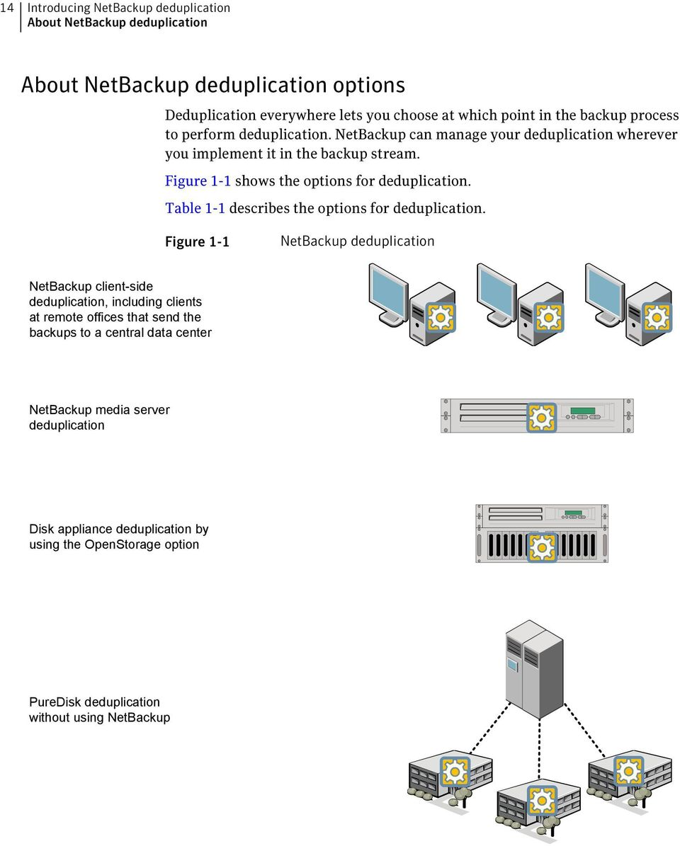 Figure 1-1 shows the options for deduplication. Table 1-1 describes the options for deduplication.