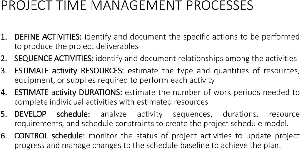 ESTIMATE activity RESOURCES: estimate the type and quantities of resources, equipment, or supplies required to perform each activity 4.
