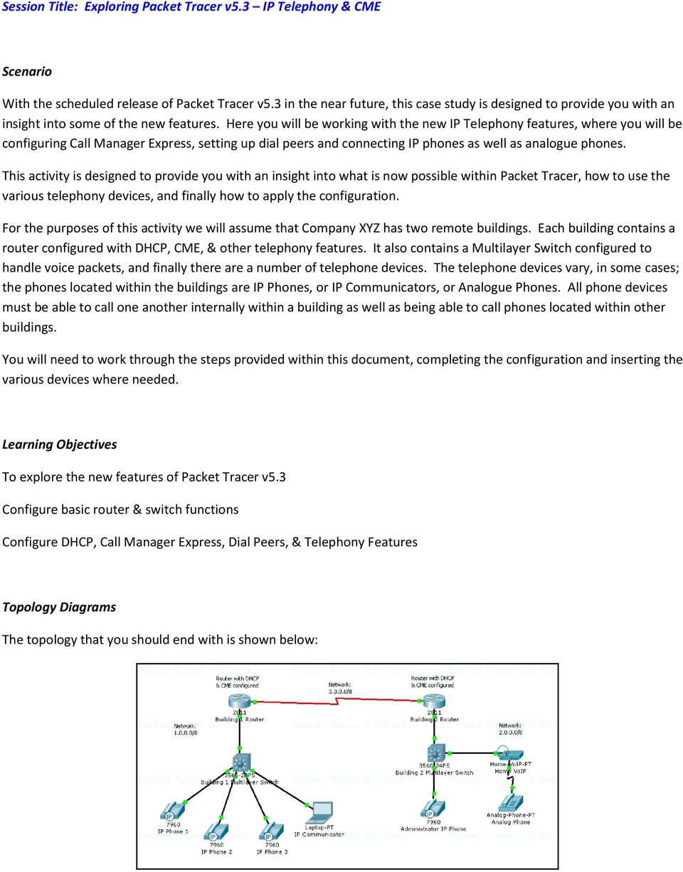 Session Title: Exploring Packet Tracer v5 3 IP Telephony