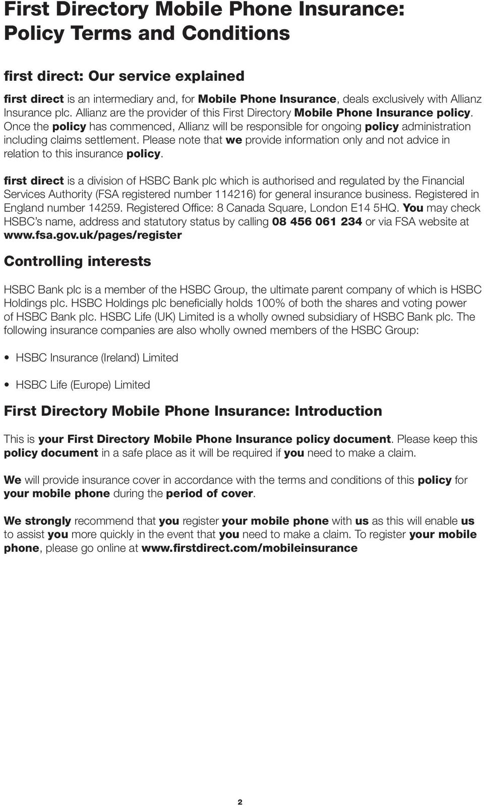 Mobile Phone Insurance  First Directory  Policy Terms and
