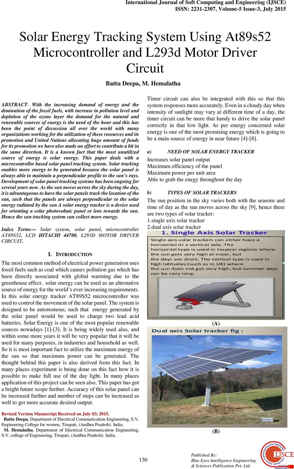 Solar Energy Tracking System Using At89s52 Microcontroller And L293d Circuit Hemalatha Abstract With The Increasing Demand Of Diminution Fossil Fuels