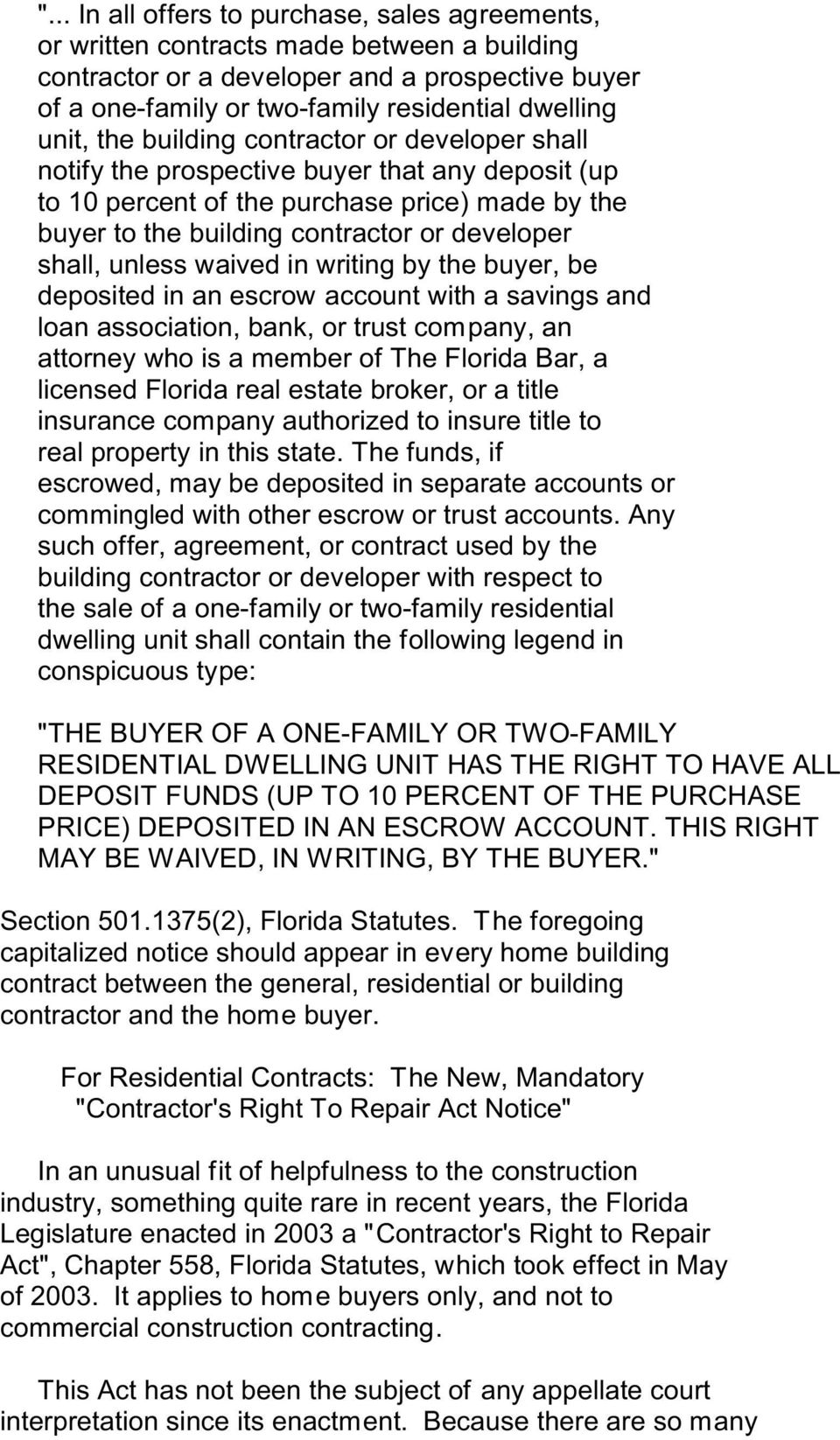 The Fundamentals of Florida Construction Contracts  By Bruce