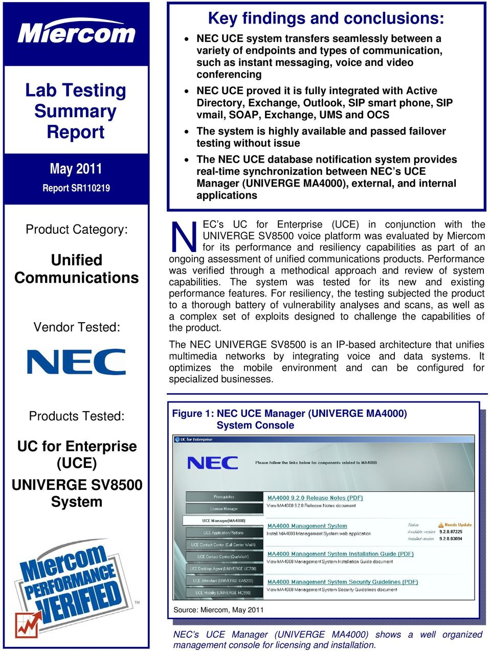 NEC s UC for Enterprise (UCE) in conjunction with the - PDF