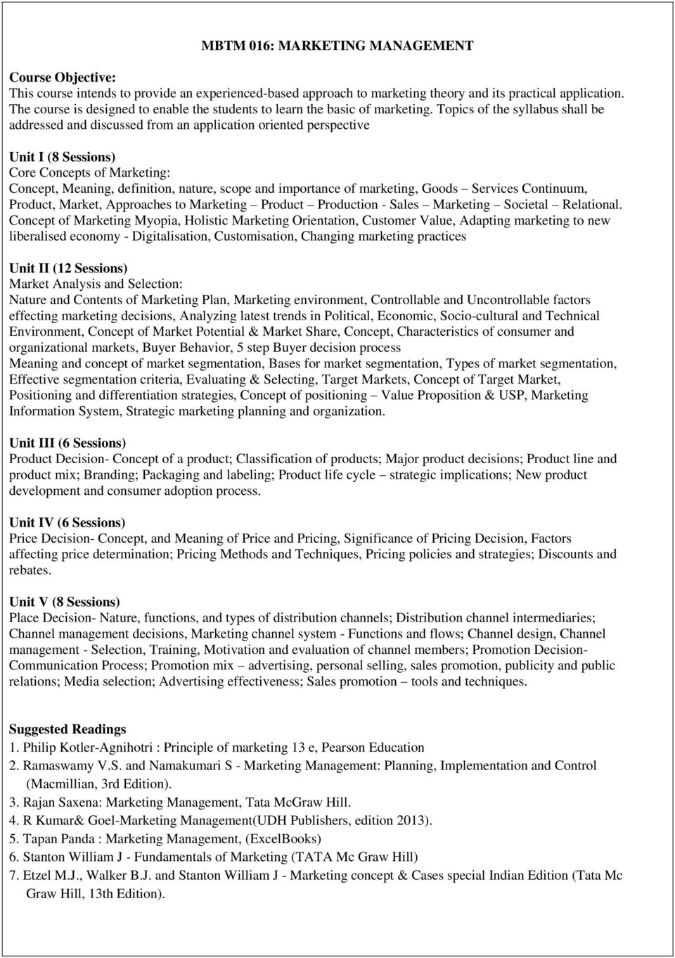 Master Of Business Administration In Tourism Management Pdf