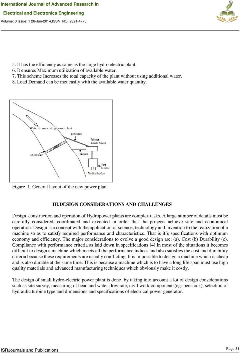 Design Of Small Hydro Electric Project Using Tailrace Extension Power Plant Line Diagram General Layout The New Iiidesign Considerations And Challenges Construction