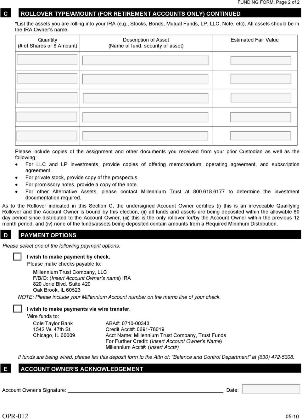 Self Directed Ira Fidelity Millennium Trust Company >> Important Instructions For Completing These Forms Pdf