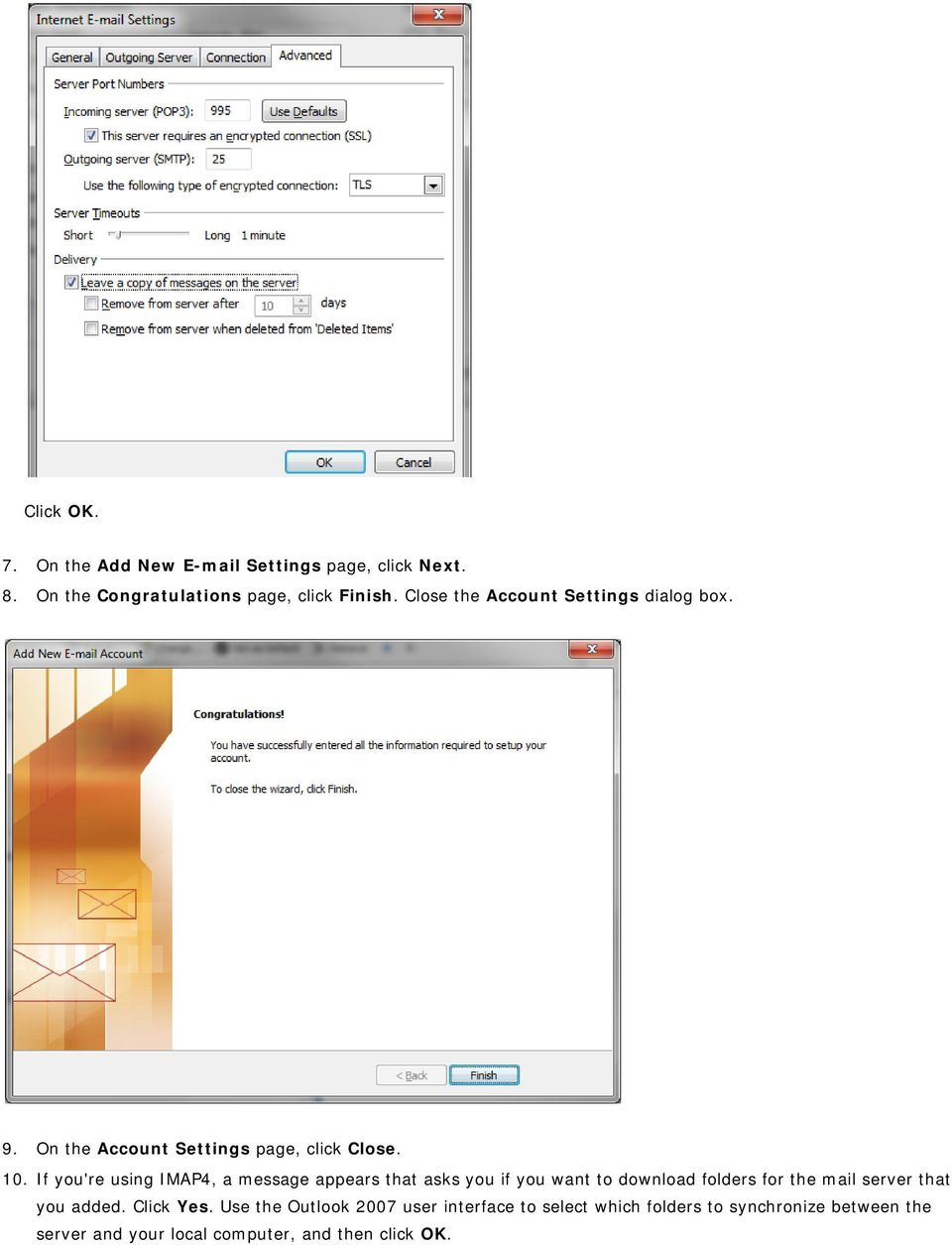 Set up Outlook for your new student e mail with IMAP/POP3