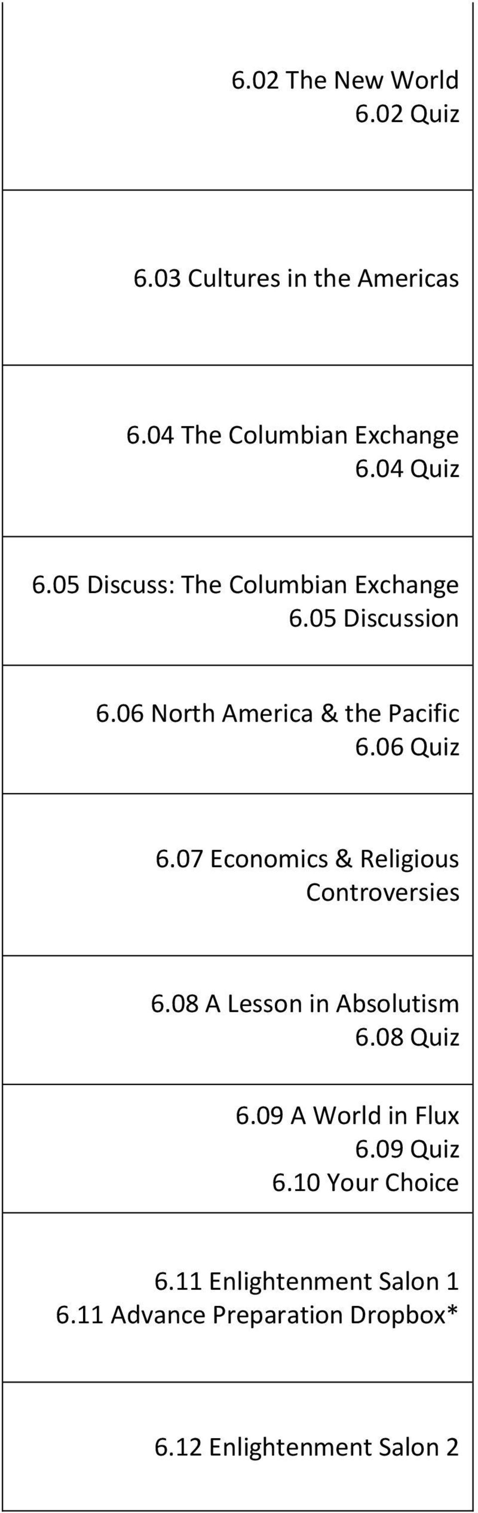 07 Economics & Religious Controversies 6.08 A Lesson in Absolutism 6.08 Quiz 6.09 A World in Flux 6.