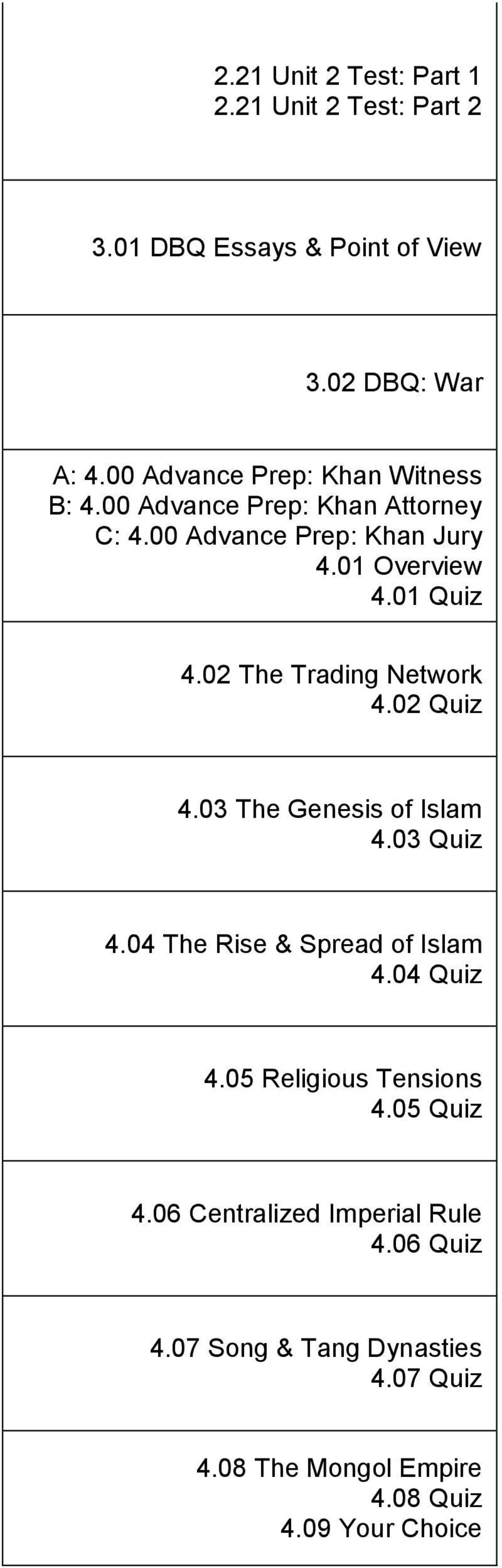 02 The Trading Network 4.02 Quiz 4.03 The Genesis of Islam 4.03 Quiz 4.04 The Rise & Spread of Islam 4.04 Quiz 4.