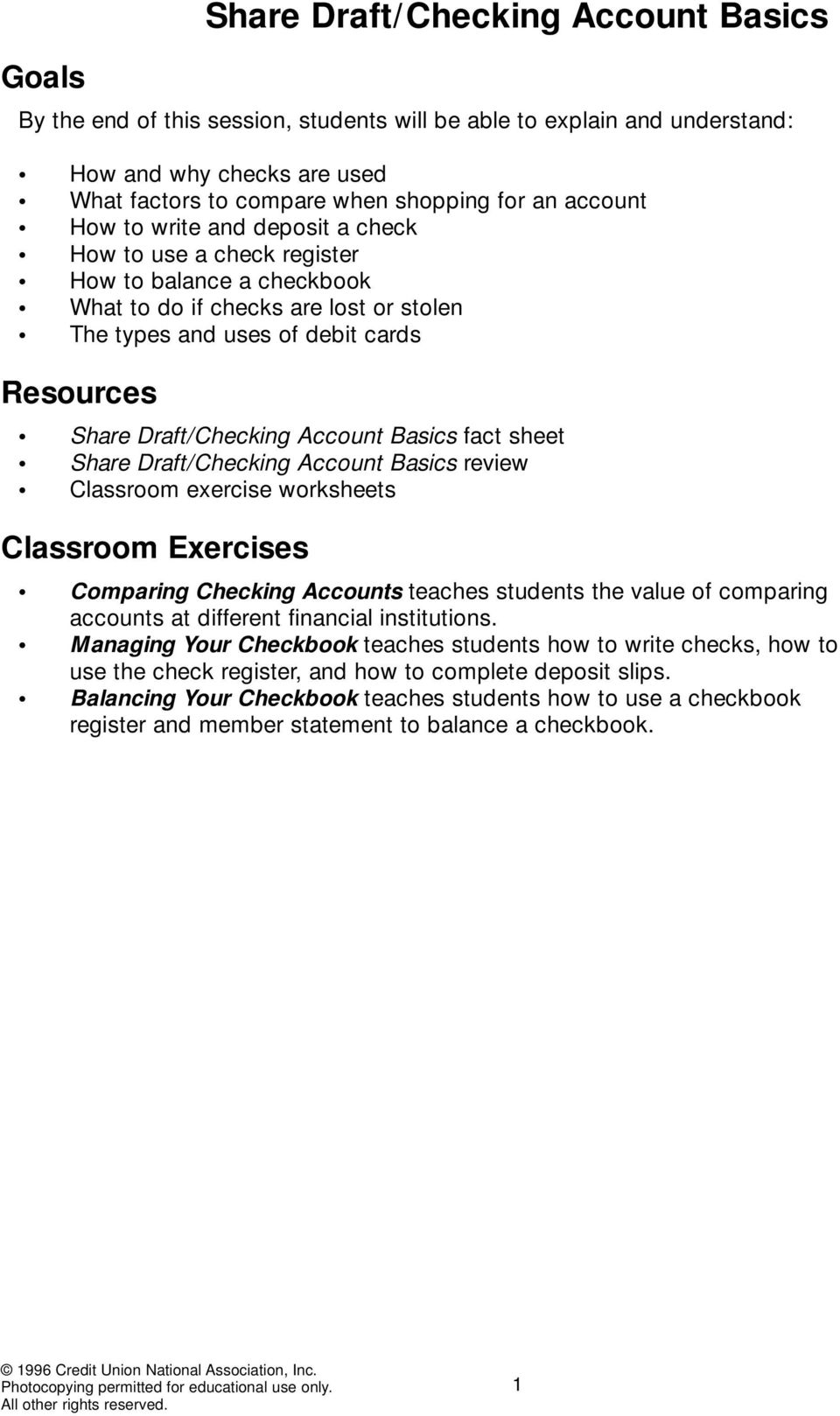 Worksheets How To Balance A Checkbook Worksheets share draftchecking account basics pdf fact sheet review classroom exercise worksheets exercises