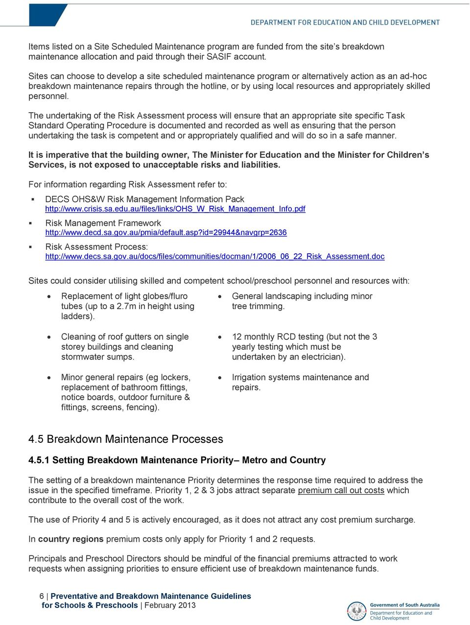 Preventative and Breakdown Maintenance Guidelines for Schools and