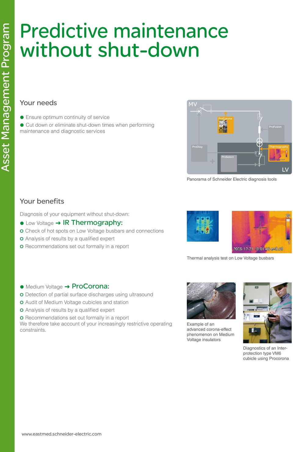equipment without shut-down: @ Low Voltage ; IR Thermography: o Check of