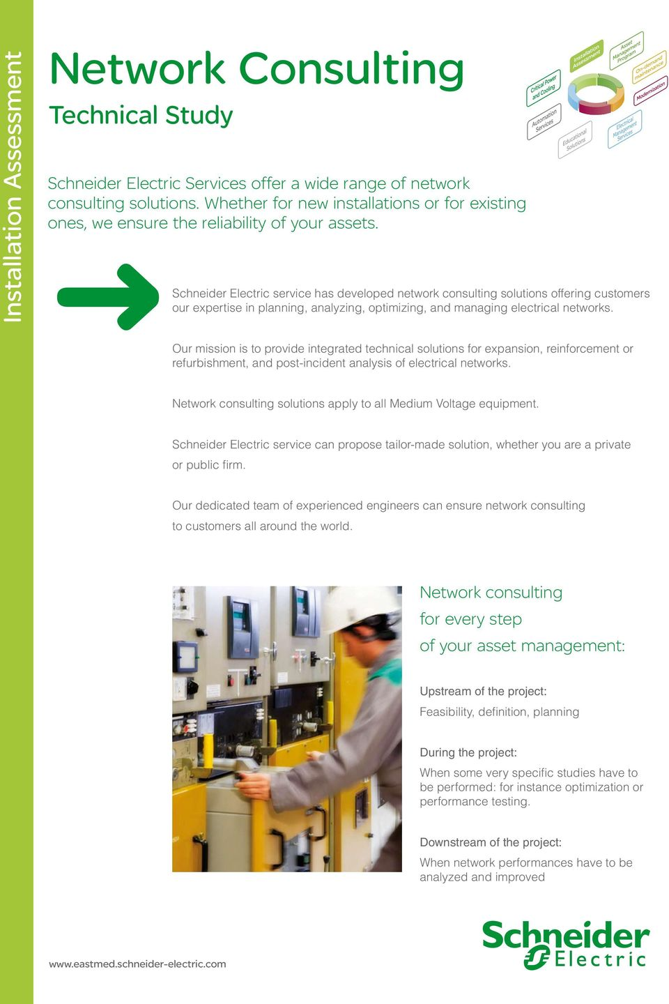 Schneider Electric service has developed network consulting solutions  offering customers our expertise in planning, analyzing
