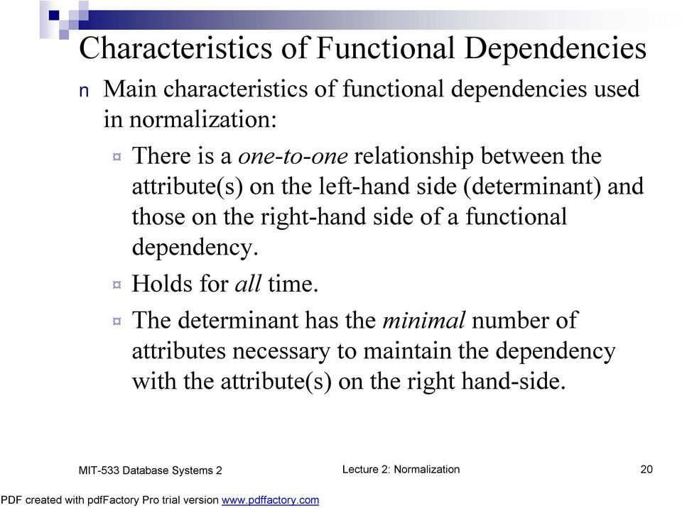 right-hand side of a functional dependency. Holds for all time.