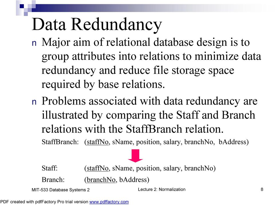 Problems associated with data redundancy are illustrated by comparing the Staff and Branch relations with the StaffBranch