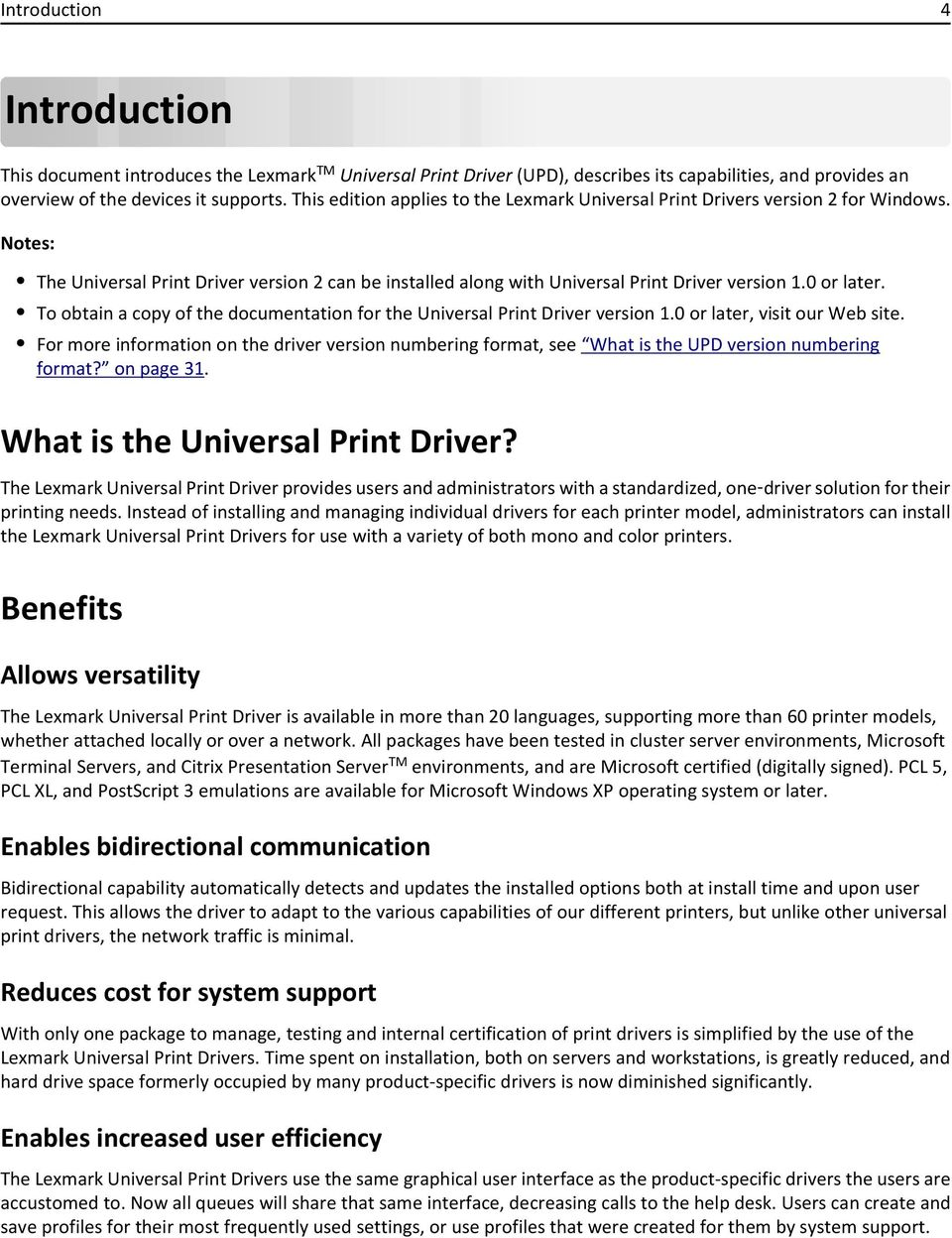 Contents 2  Introduction   4  What is the Universal Print