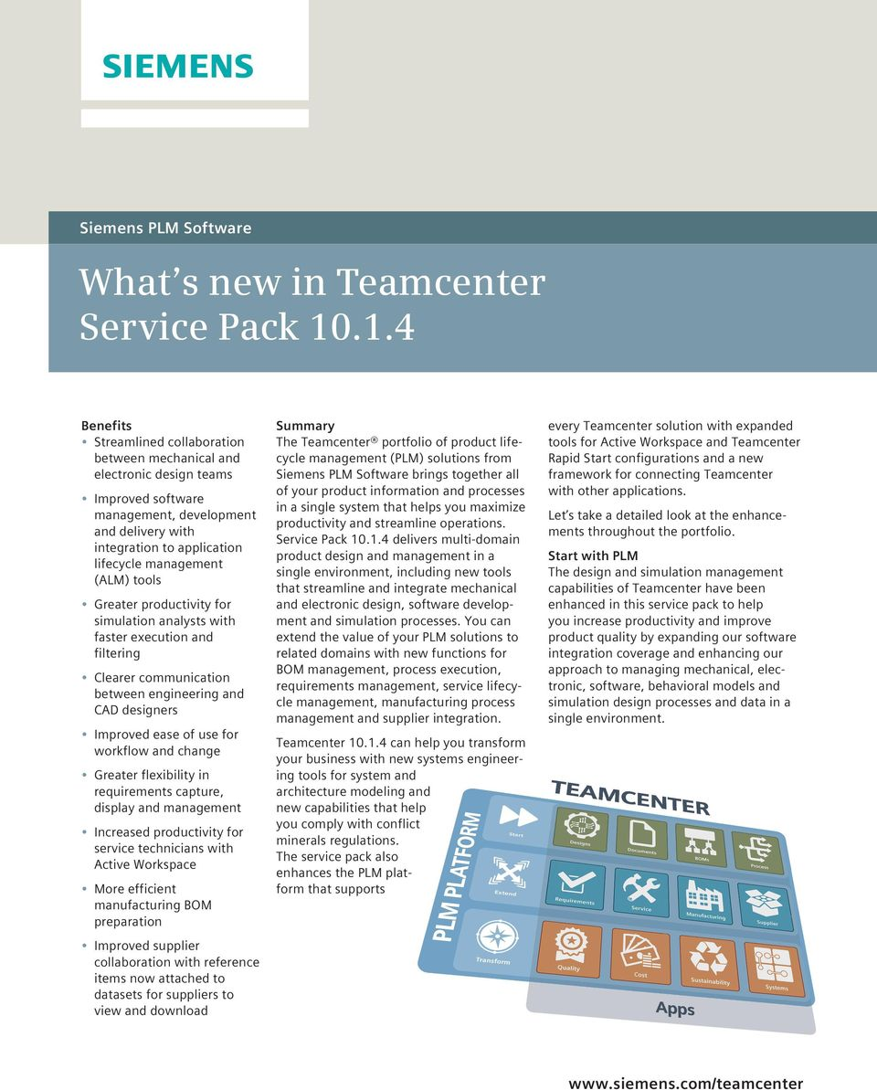 What s new in Teamcenter Service Pack - PDF