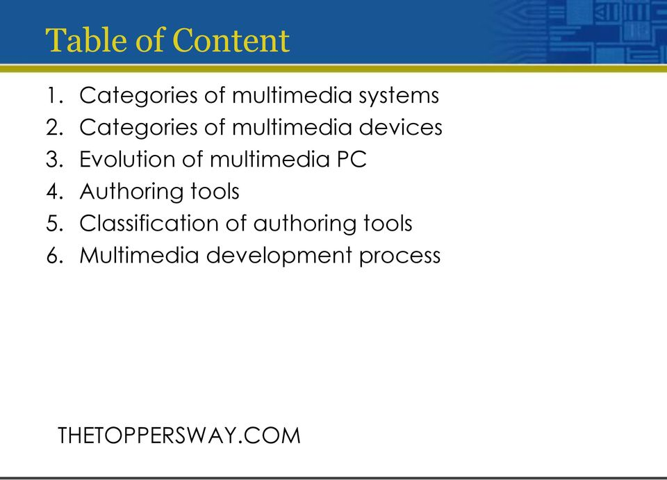 Evolution of multimedia PC 4. Authoring tools 5.