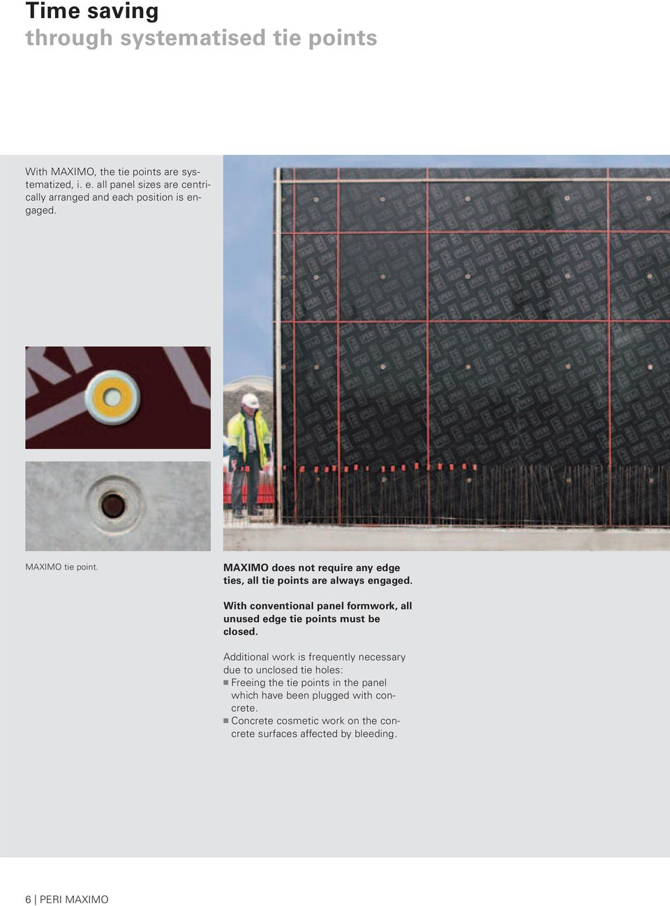 MAXIMO The panel formwork with the MX Tie which is installed from
