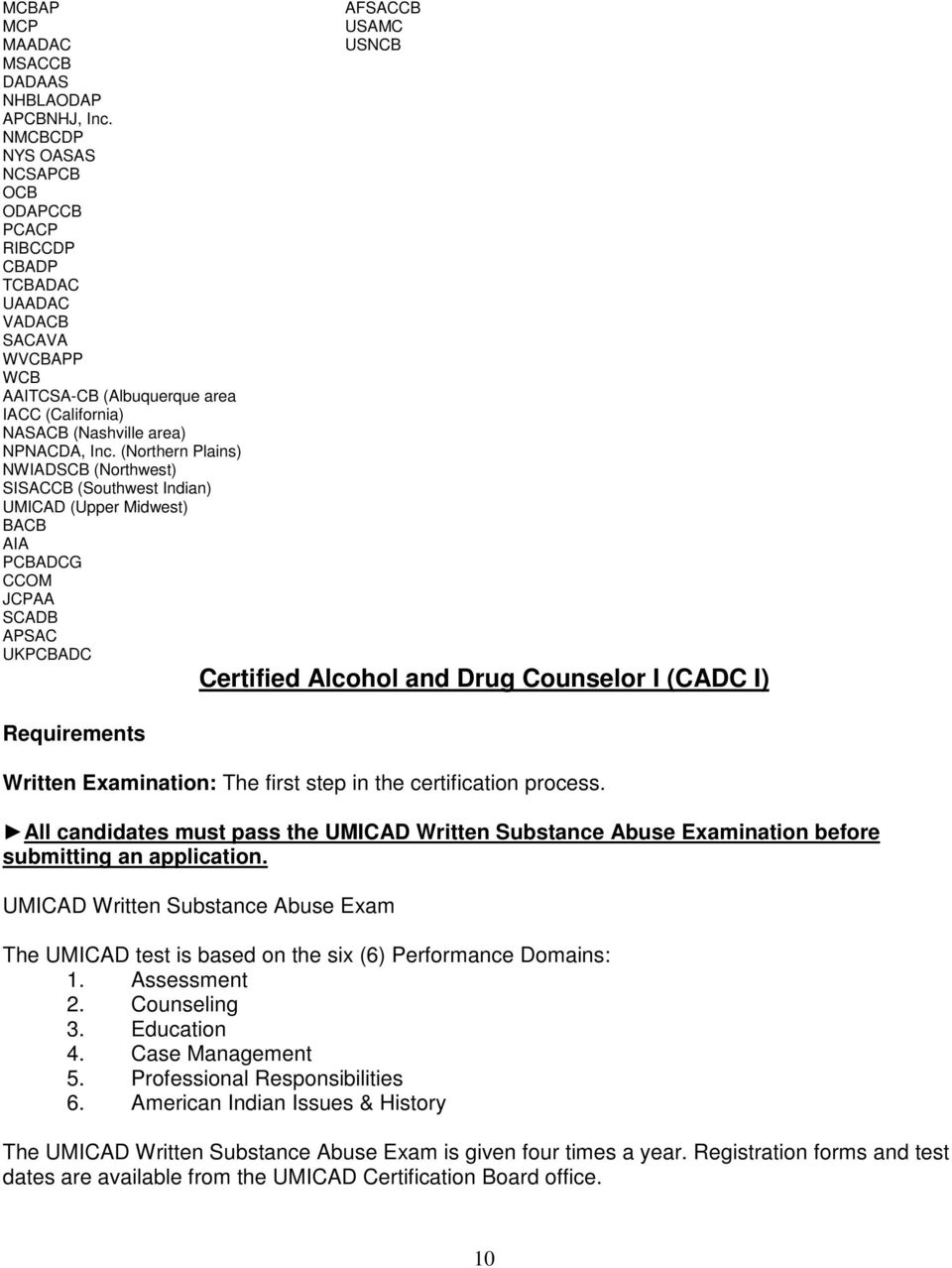 Umicad Counselor Certification Handbook Pdf