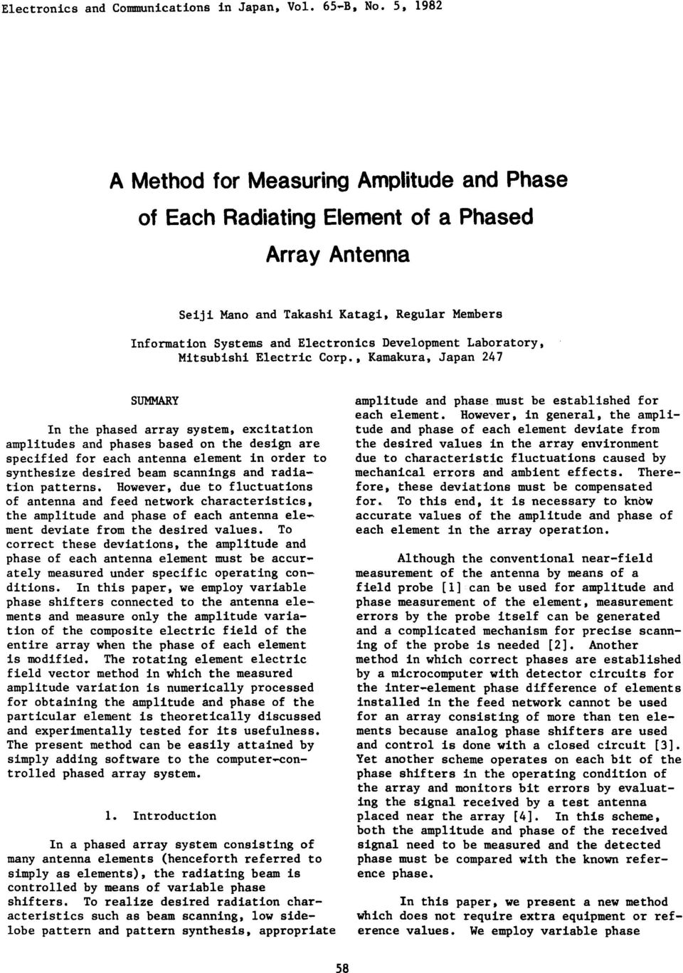 A Method for Measuring Amplitude and Phase of Each Radiating