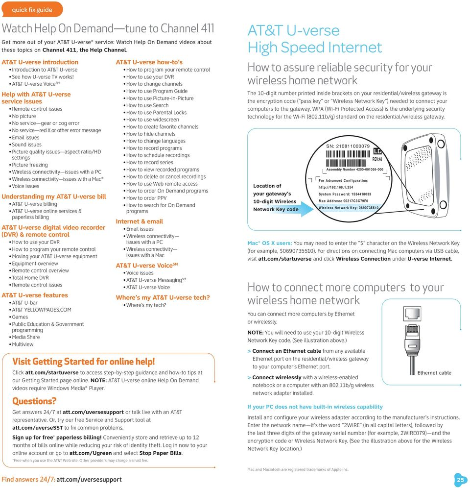 Starter Guide Easy Steps For Getting The Most From Your Att U Verse Box Wiring Diagram Voice Sm Help With Service Issues Emote Control