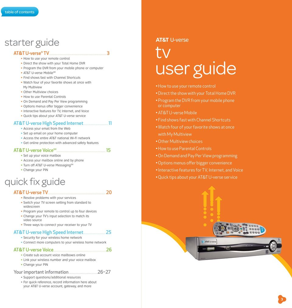 page_2 starter guide easy steps for getting the most from your at&t u verse