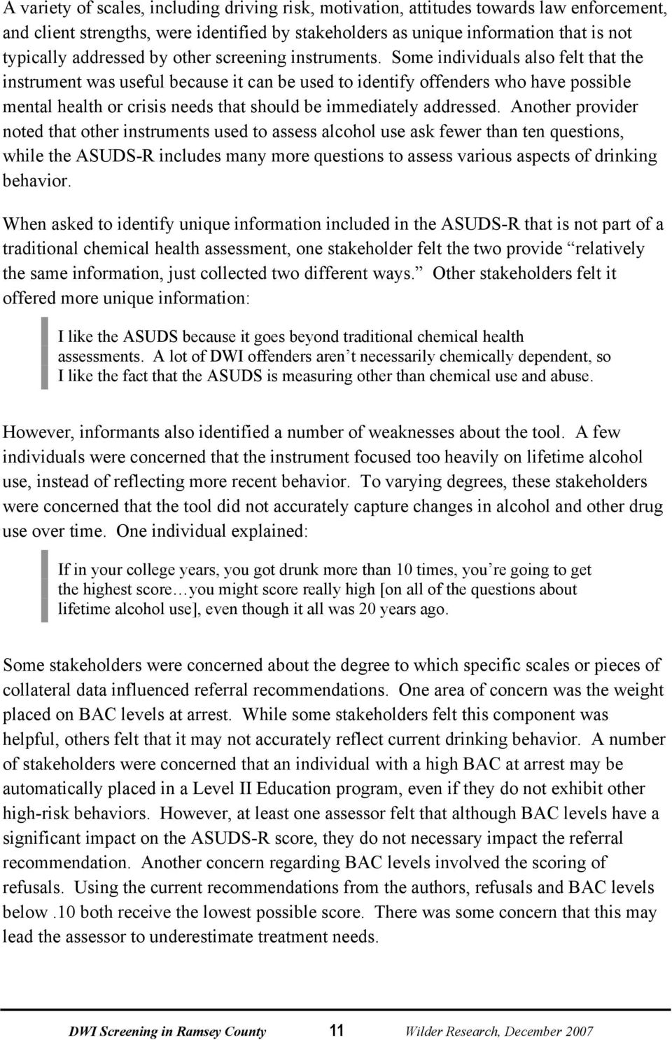 Dwi Screening In Ramsey County An Assessment Of The Asuds R Pdf