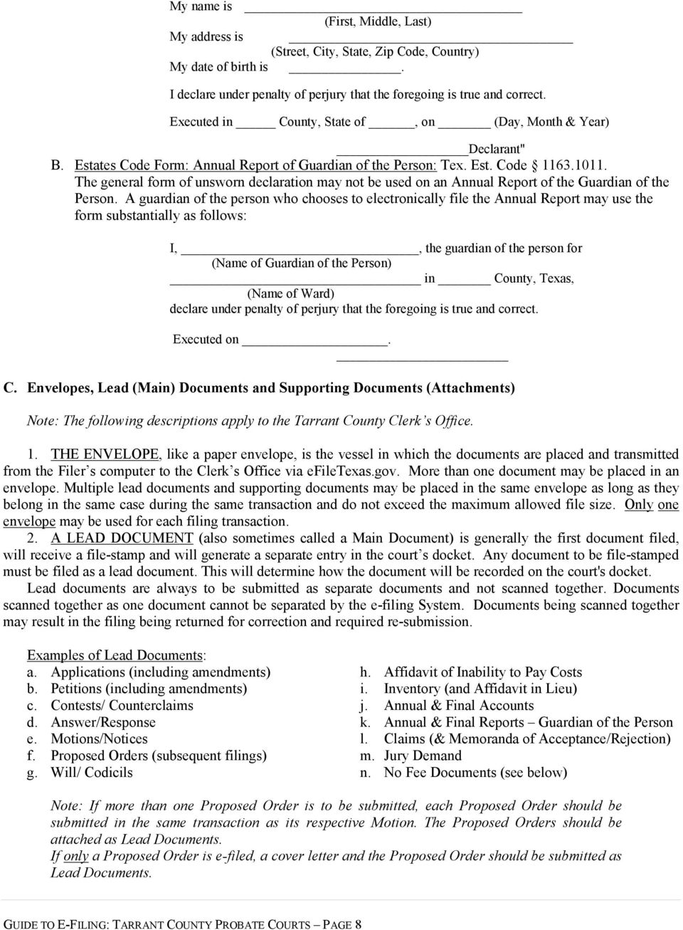 Court Rules For E Filing In The Tarrant County Probate Courts Pdf No Disassemble Short Circuit See More 3 Theguardian Com General Form Of Unsworn Declaration May Not Be Used On An Annual Report