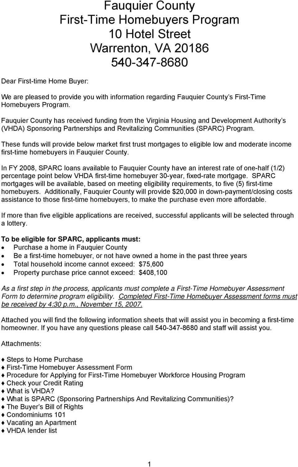 Fauquier County First Time Homebuyer Program Pdf
