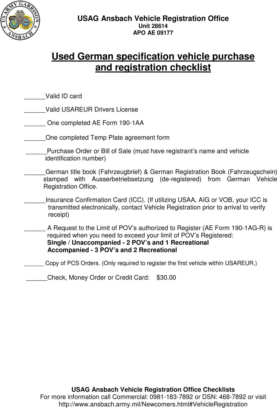 New U S  specifications vehicle purchase and registration