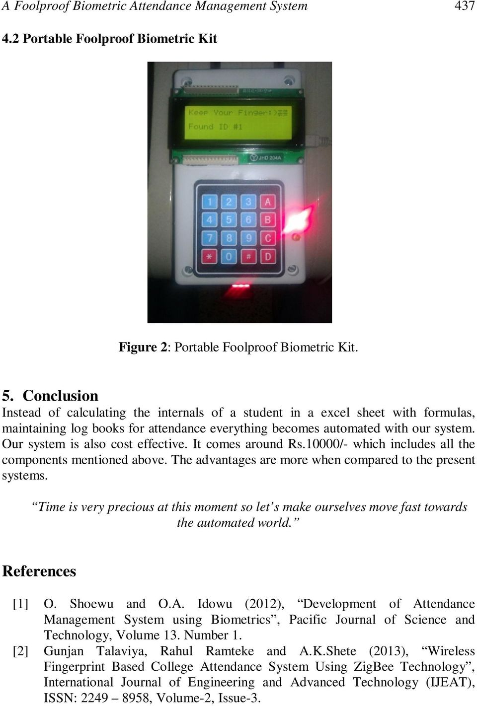A Foolproof Biometric Attendance Management System - PDF