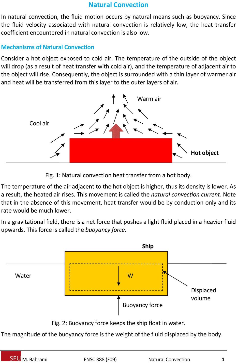 Mechanisms of Natural Convection Consider a hot object exposed to cold air.