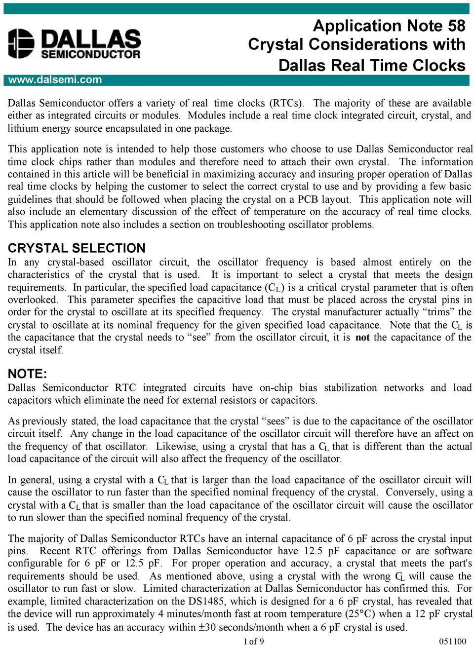 Application Note 58 Crystal Considerations With Dallas Real Time Integrated Circuits Crystals This Is Intended To Help Those Customers Who Choose Use Semiconductor