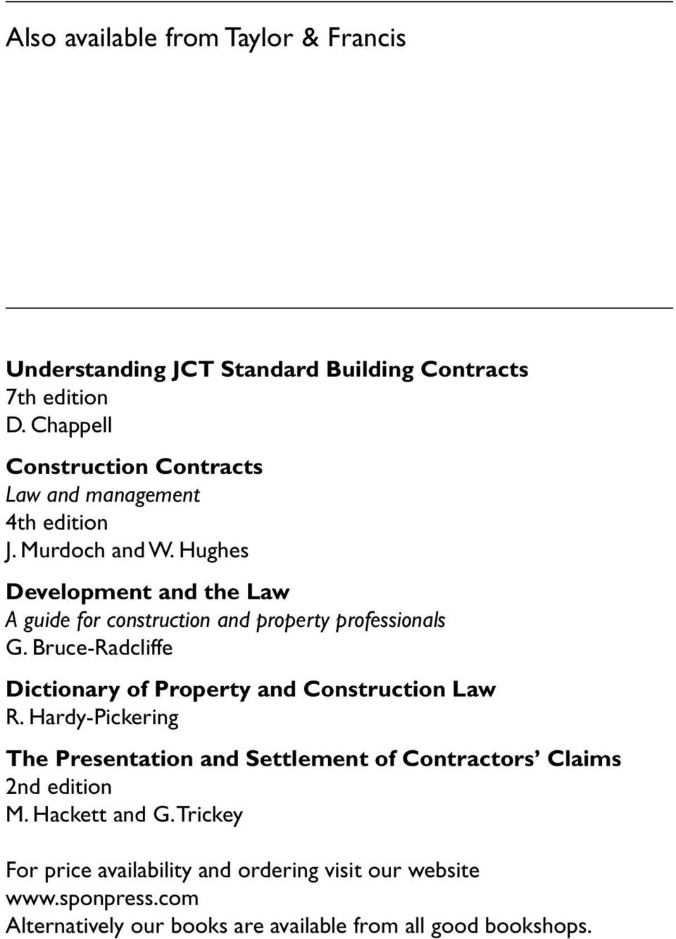 Hughes Development and the Law A guide for construction and property  professionals G.