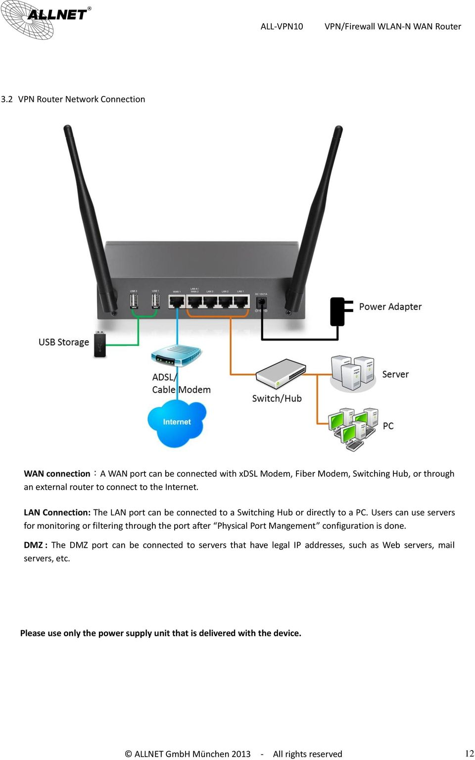 All Vpn10 Vpn Firewall Wlan N Wan Router User S Manual Pdf Wireless Diagram Users Can Use Servers For Monitoring Or Filtering Through The Port After Physical Mangement Configuration