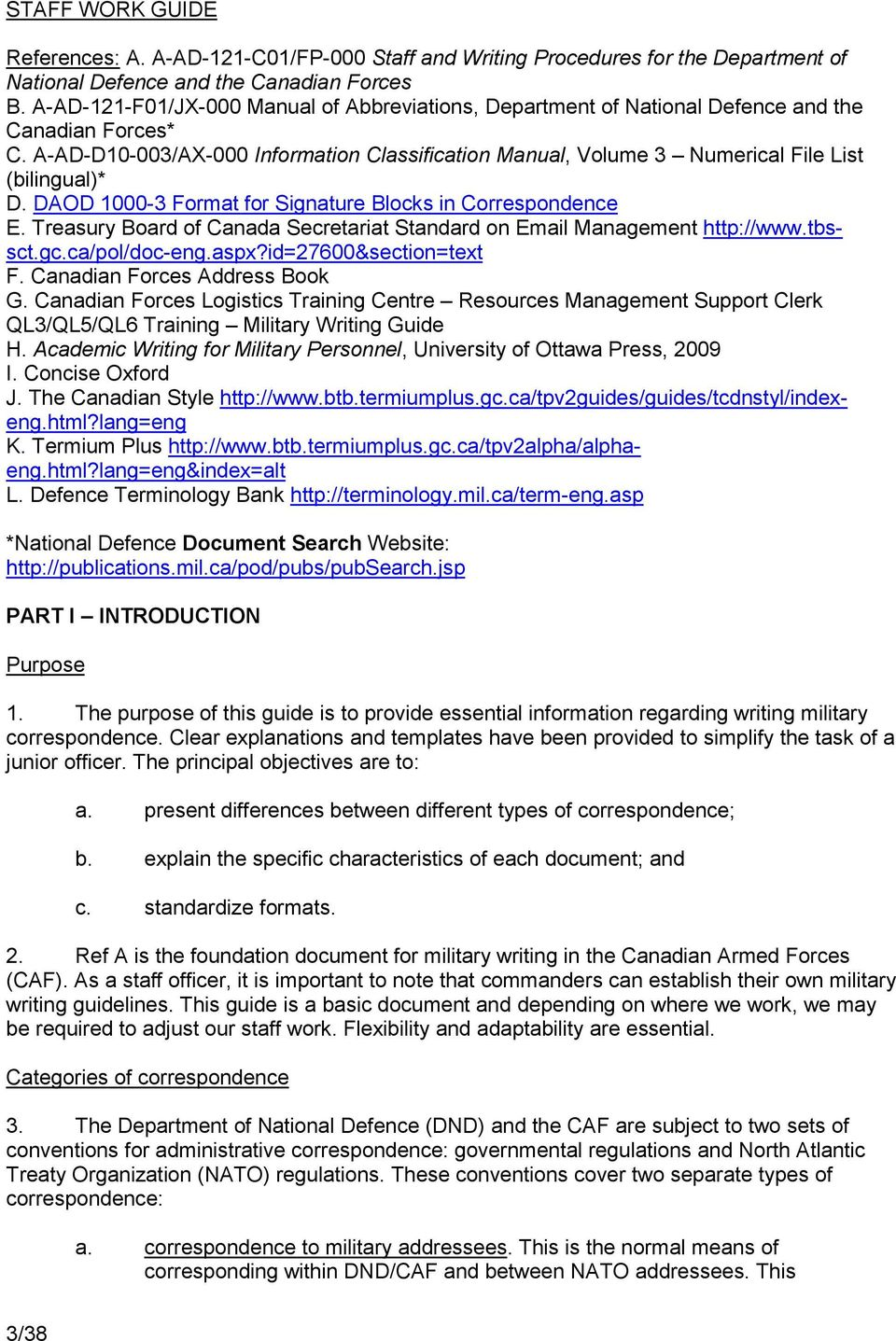 staff work guide. canadian armed forces junior officer development