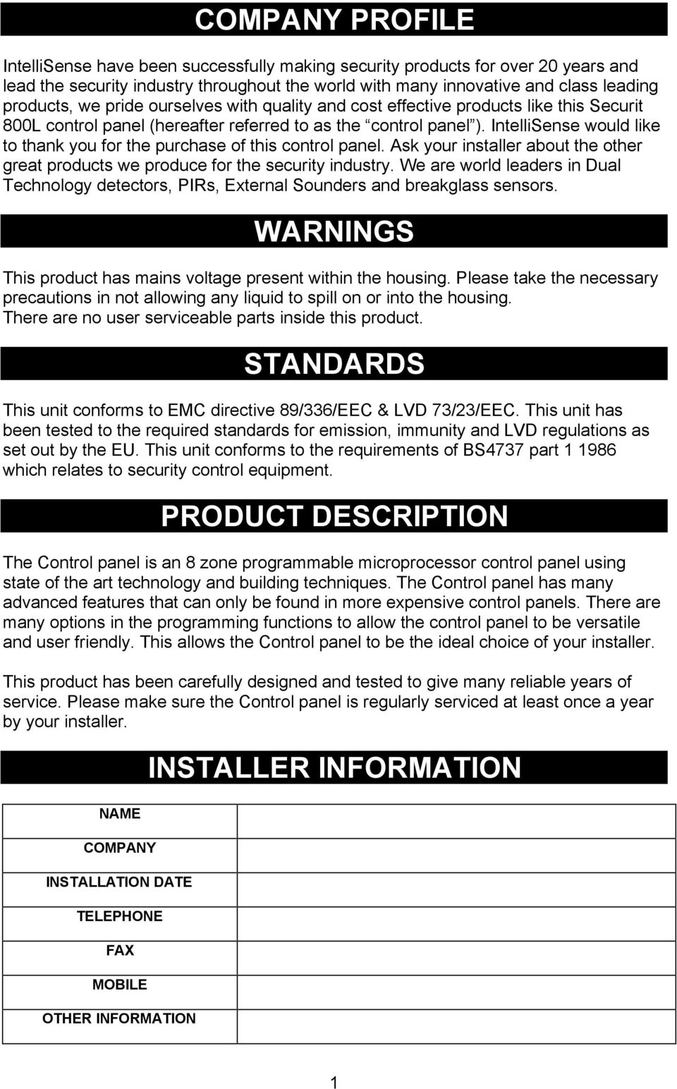Securit 800l Control Panel Pdf Texecom Wiring Diagram Intellisense Would Like To Thank You For The Purchase Of This Ask Your