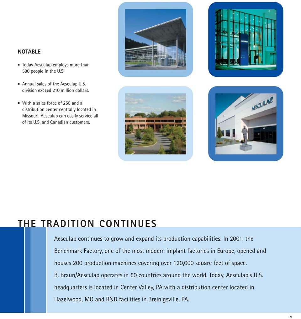 Corporate Brochure  Aesculap, Inc  Aesculap Implant Systems