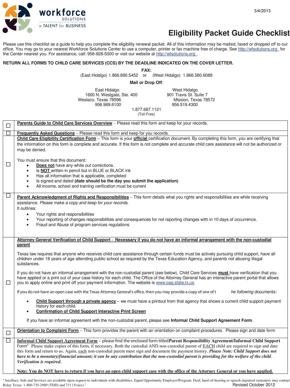 Workforce Solutions Child Care Services Eligibility Requirements
