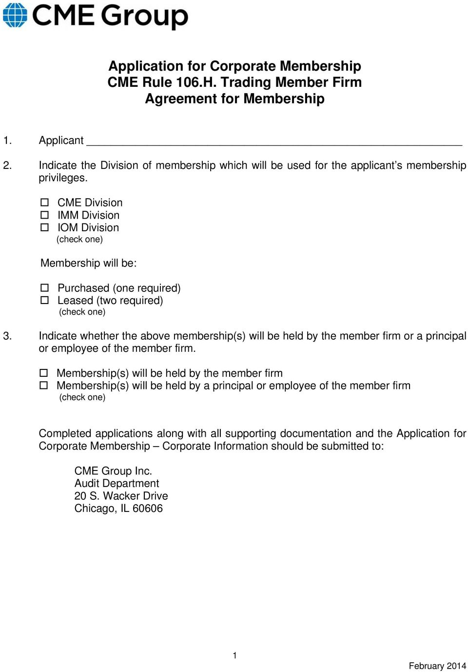 Application For Corporate Membership Cme Rule 106h Trading Member