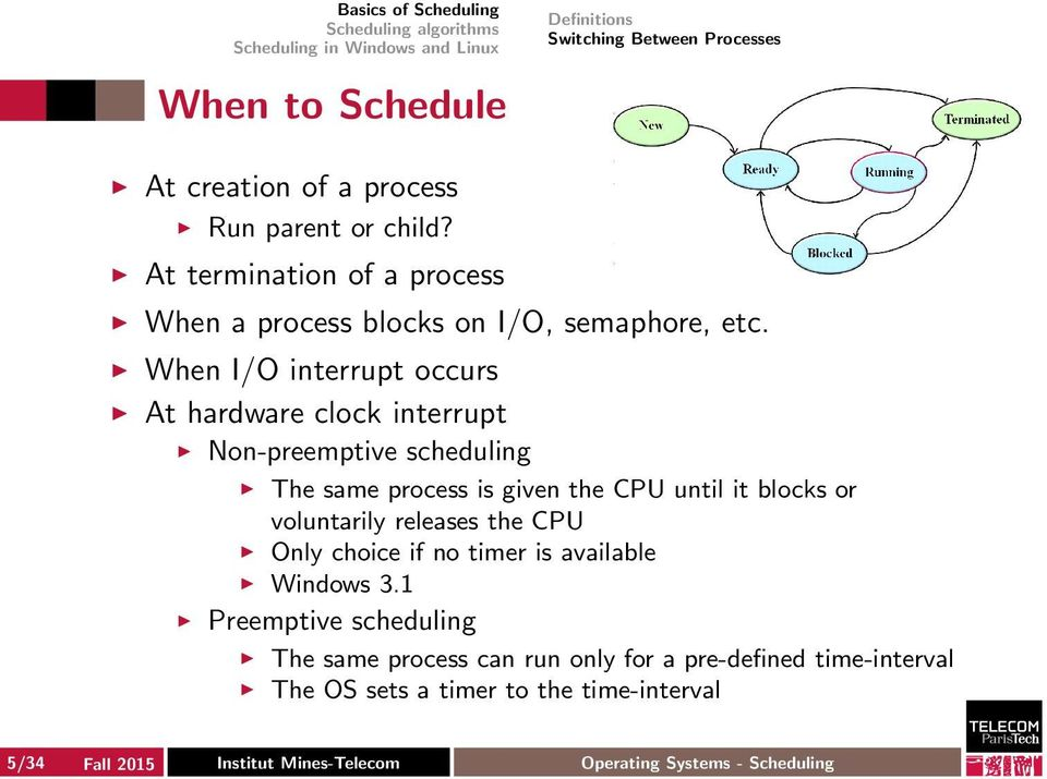 When I/O interrupt occurs At hardware clock interrupt Non-preemptive scheduling The same process is given the CPU until it blocks or voluntarily