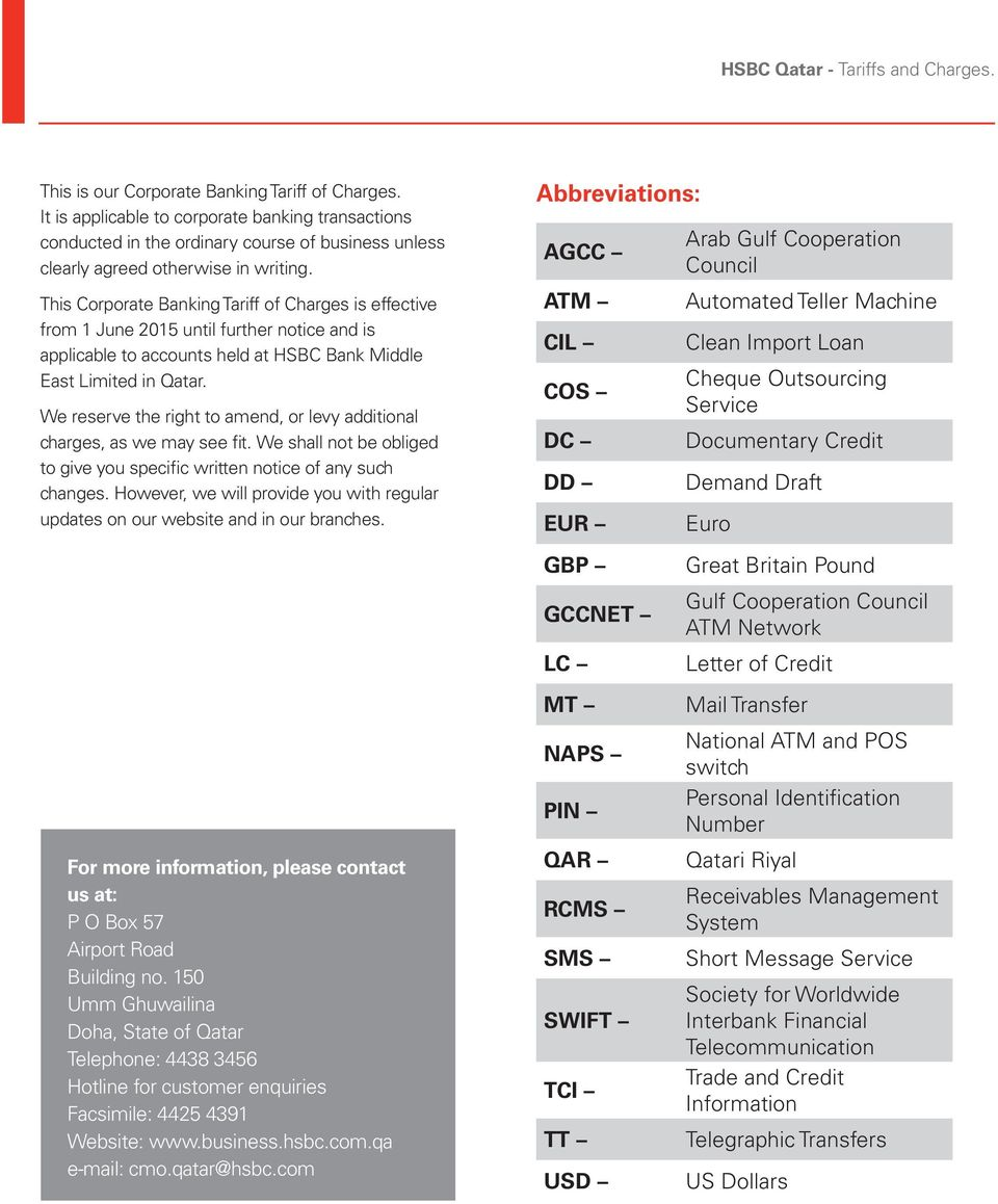 HSBC Qatar Corporate Tariff and Charges - PDF