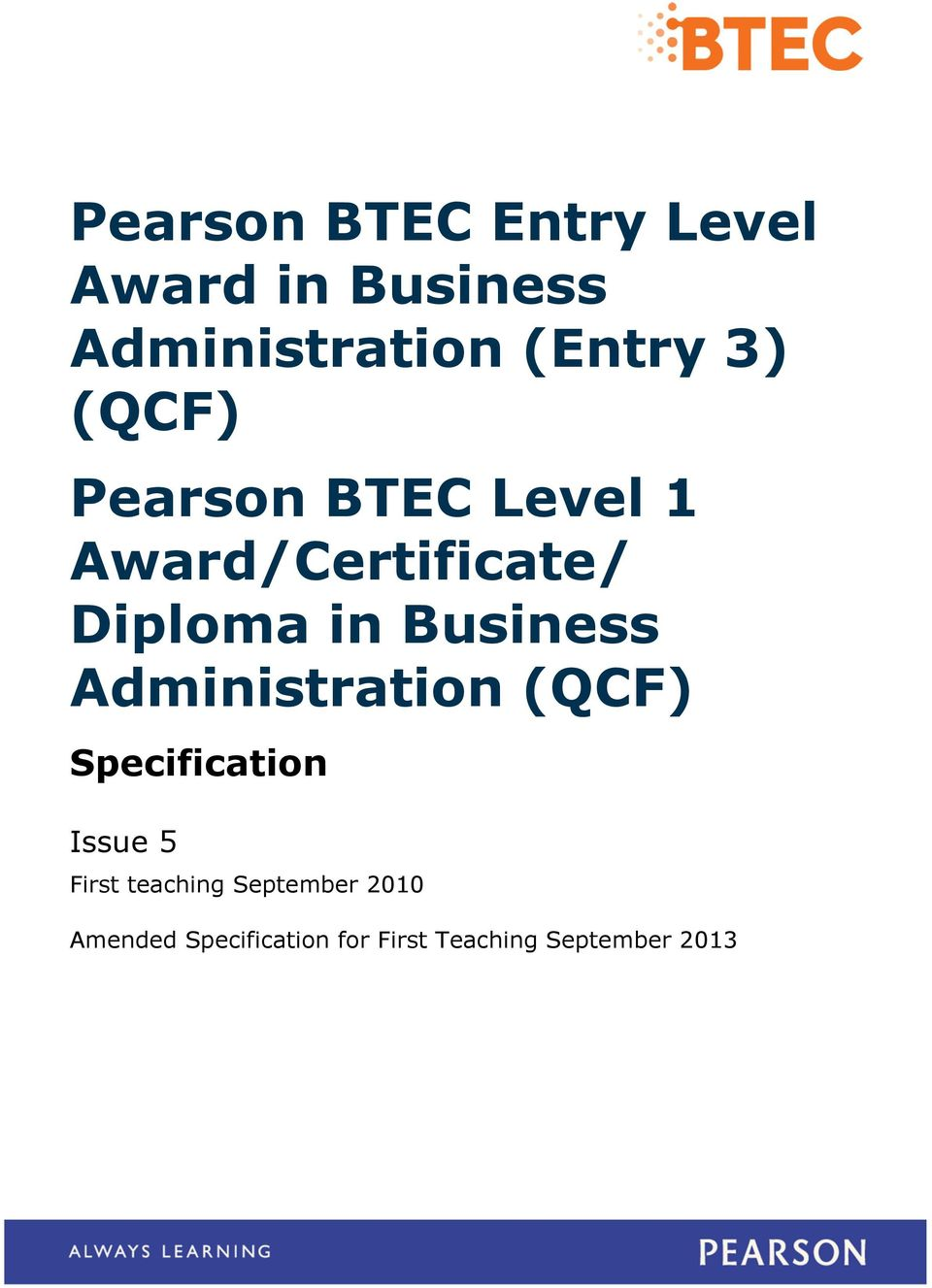Business Administration (QCF) Specification Issue 5 First