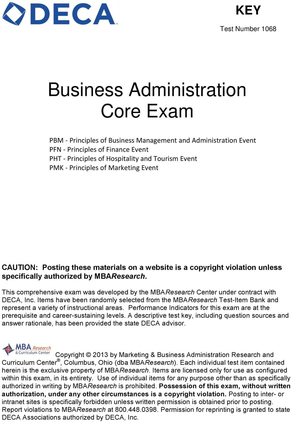 Business Administration Core Exam - PDF Free Download