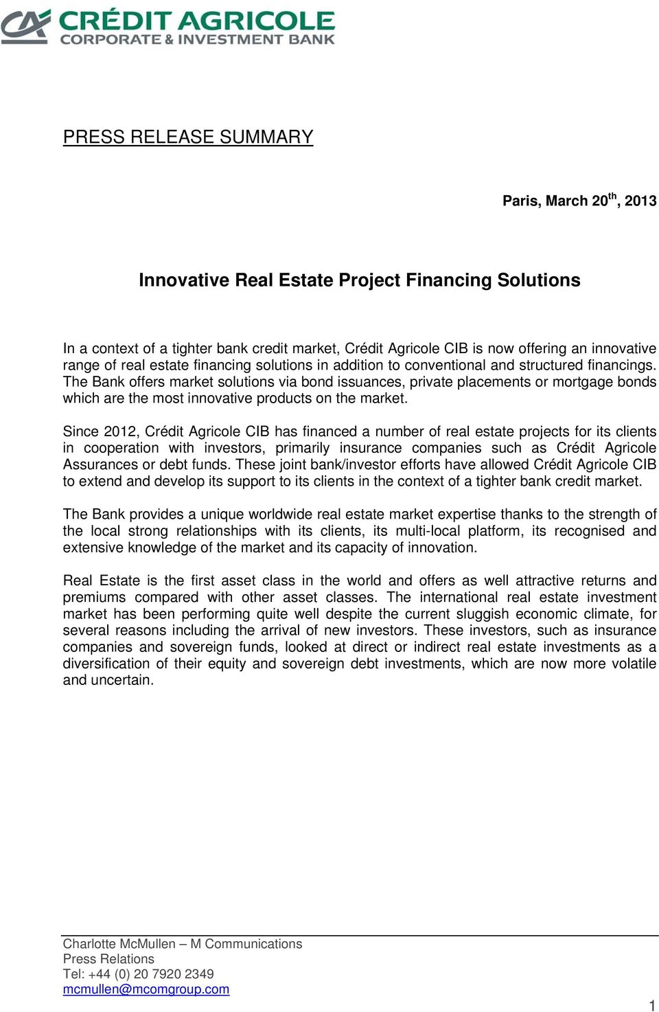 Innovative financing solutions for the Real Estate Industry 2